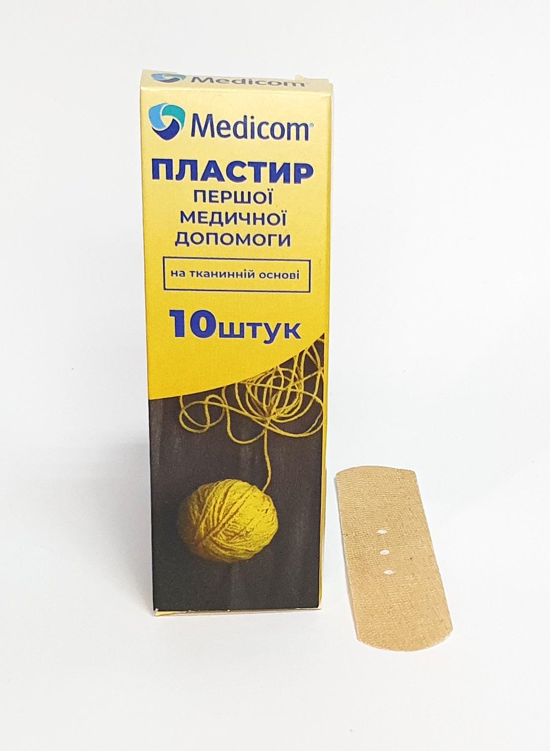 Артикул 1010mc. Пластырь первой медицинской помощи MEDICOM®, 10 пластырей на тканевой основе, 19мм*72мм