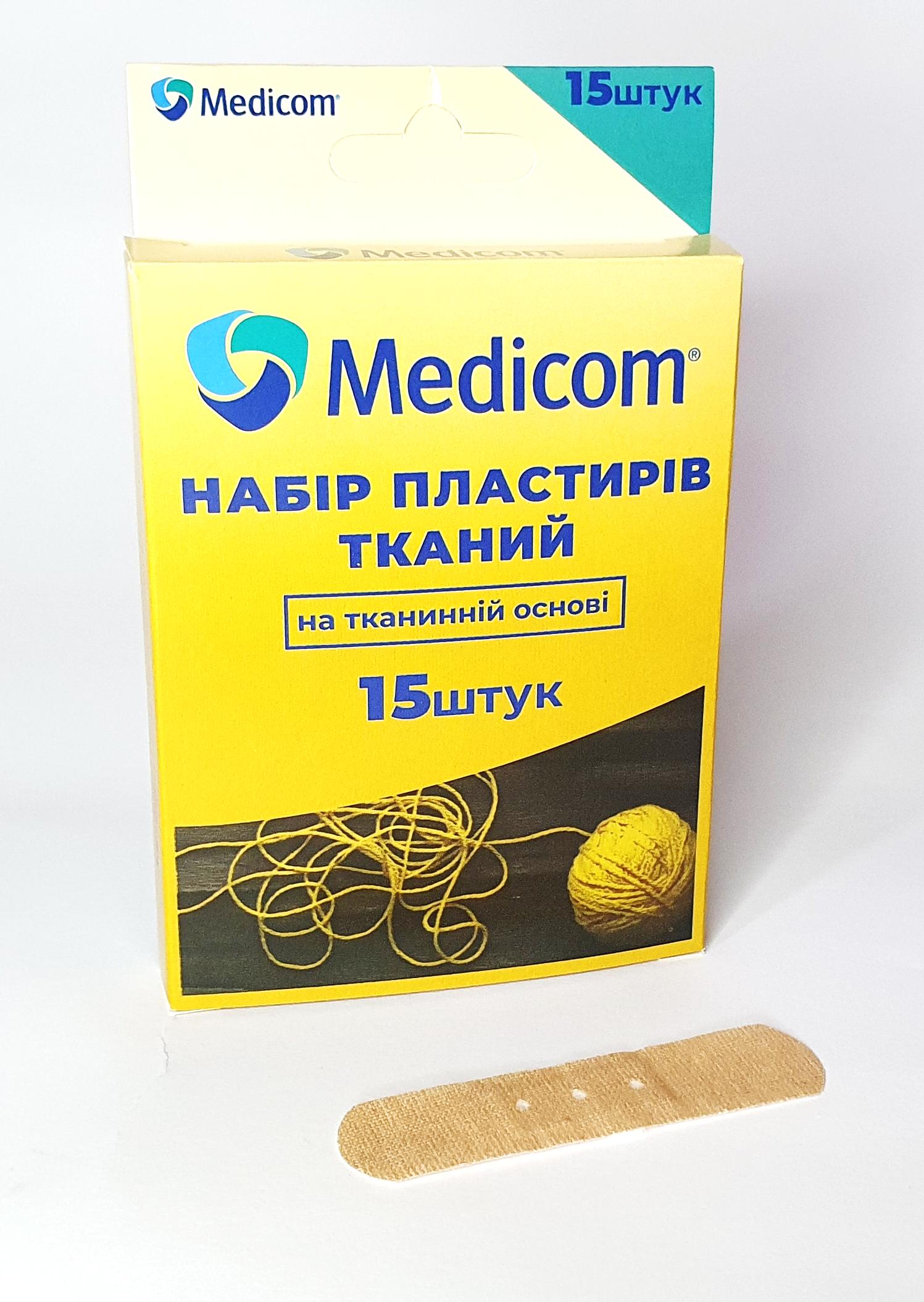 Артикул 732 mc. Набор пластырей MEDICOM®ТКАНЕВОЙ, 15 пластырей на тканевой основе, 19мм*72мм